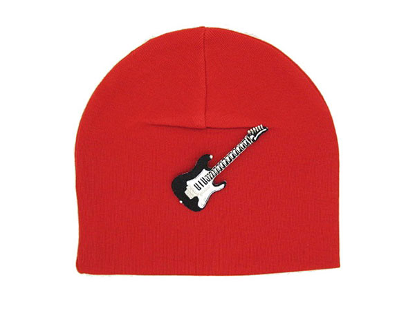 Red Applique Hat with Black Guitar