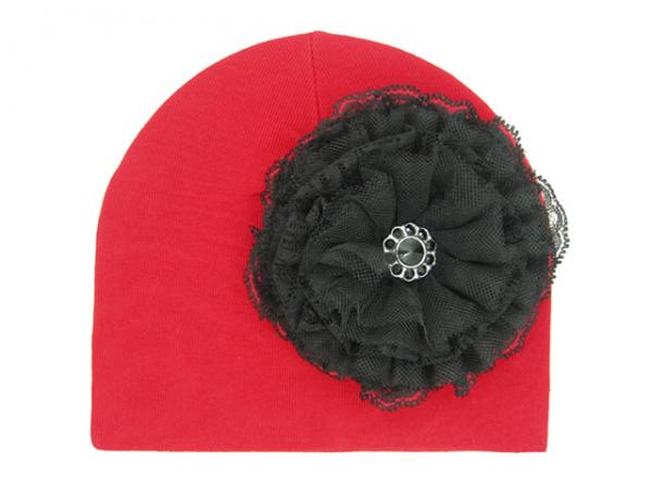 Red Cotton Hat with Black Lace Rose