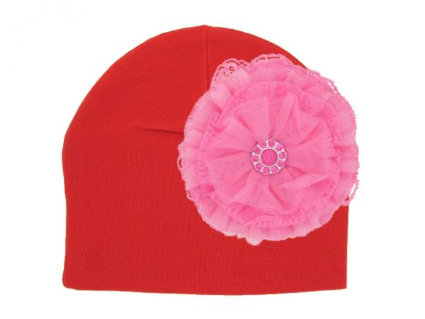 Red Cotton Hat with Candy Pink Lace Rose