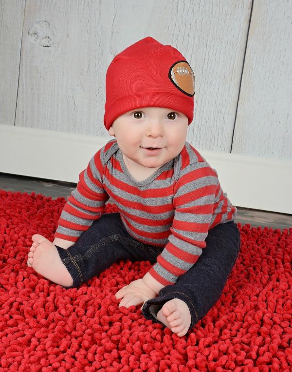 Red Applique Hat with Football