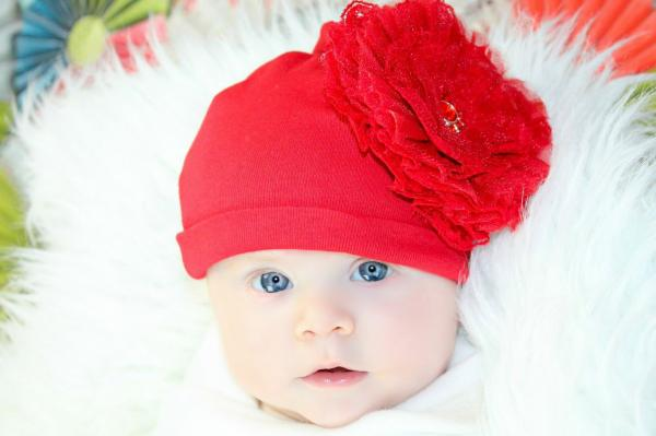 Red Cotton Hat with Red Lace Rose