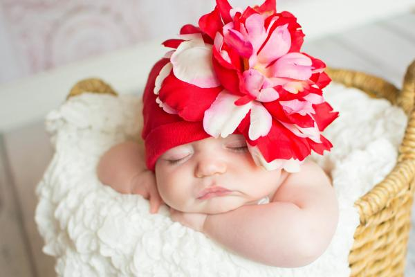 Red Cotton Hat with Red Pink Large Peony