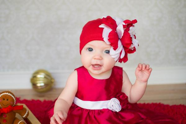 Red Cotton Hat with Red White Large Peony