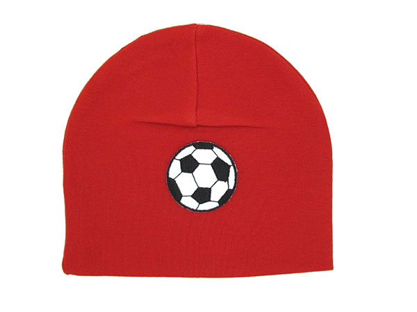 Red Applique Hat with Soccer Ball