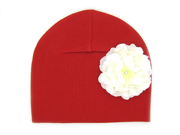 Red Cotton Hat with White Large Geraniums
