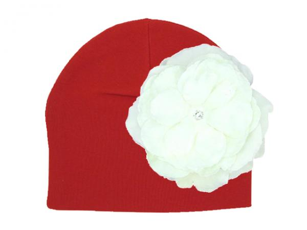 Red Cotton Hat with White Large Rose