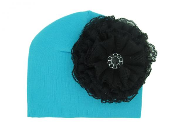 Teal Cotton Hat with Black Lace Rose