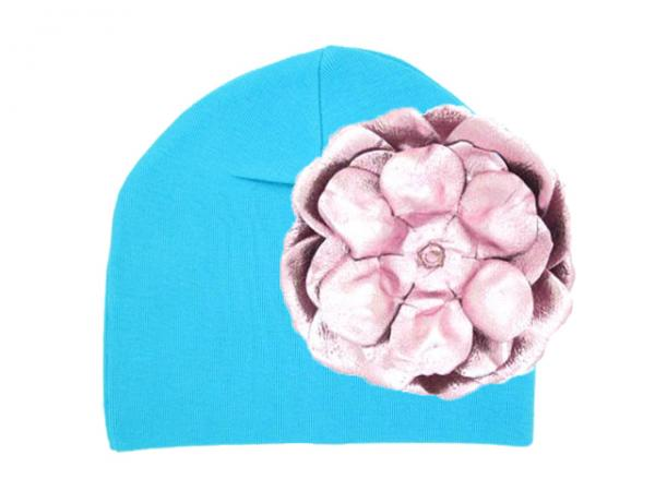 Teal Cotton Hat with Metallic Pale Pink Rose