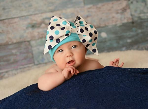 Teal Cotton Hat with Navy Blue Dot Bow-Rae-Mi