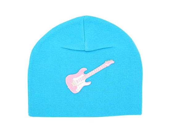 Teal Applique Hat with Pale Pink Guitar
