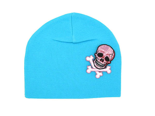 Teal Applique Hat with Pink White Skull
