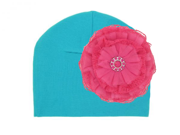 Teal Cotton Hat with Raspberry Lace Rose