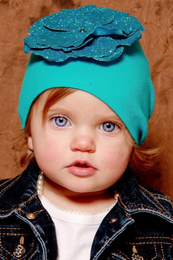 Teal Cotton Hat with Sequins Teal Rose