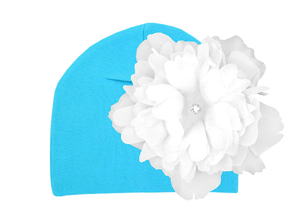 Teal Cotton Hat with White Large Peony