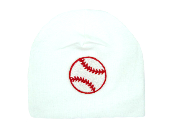 White Applique Hat with Baseball