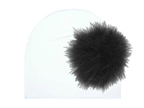 White Cotton Hat with Black Large regular Marabou