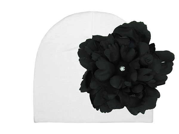 White Cotton Hat with Black Large Peony