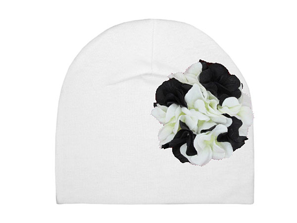 White Cotton Hat with Black White Large Geraniums