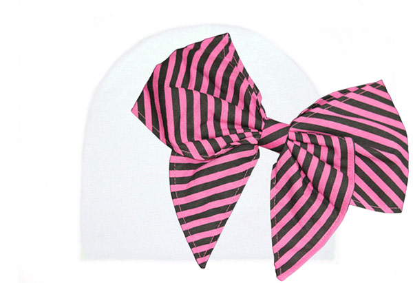 White Cotton Hat with Candy Pink Stripe Bow-Rae-Mi