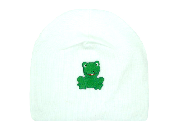 White Applique Hat with Green Frog