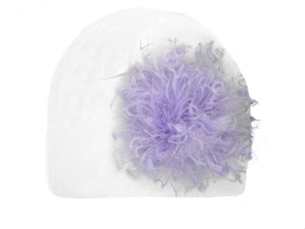 White Cotton Hat with Lavender Large Curly Marabou