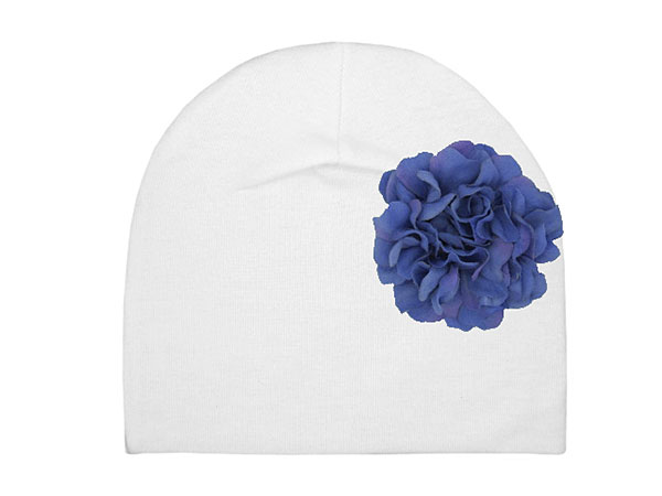 White Cotton Hat with Lavender Large Geraniums