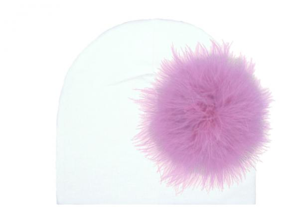 White Cotton Hat with Lavender Large regular Marabou