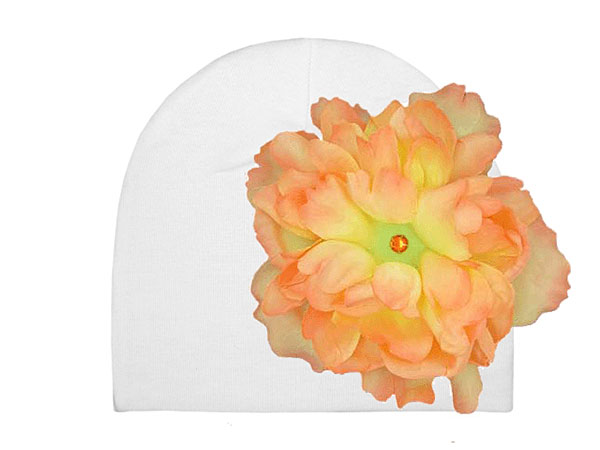 White Cotton Hat with Orange Large Peony
