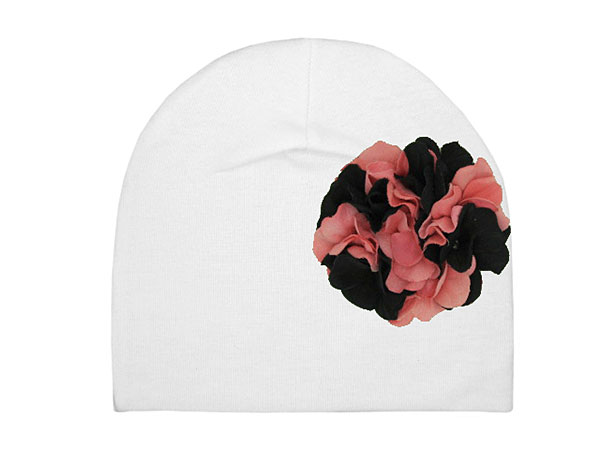White Cotton Hat with Pink Black Large Geraniums