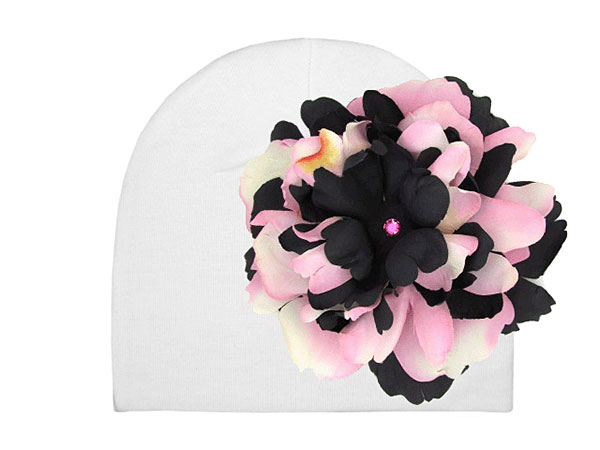 White Cotton Hat with Pink Black Large Peony