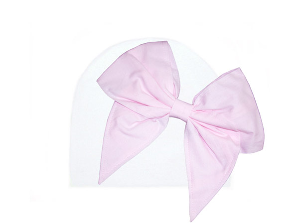 White Cotton Hat with Pale Pink Bow-Rae-Mi