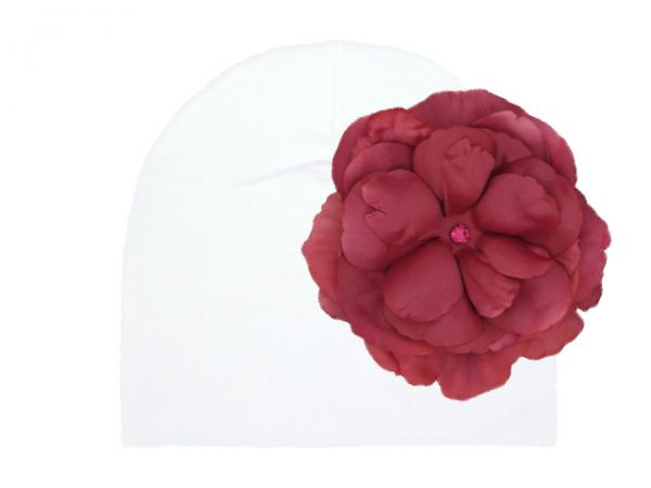 White Cotton Hat with Raspberry Large Rose