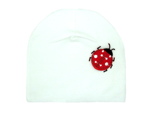White Applique Hat with Red Ladybug