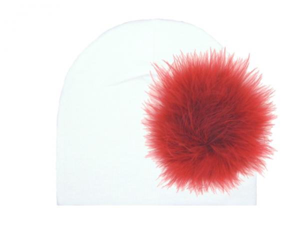 White Cotton Hat with Red Large regular Marabou