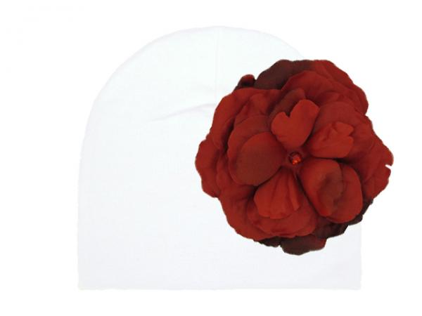 White Cotton Hat with Red Large Rose