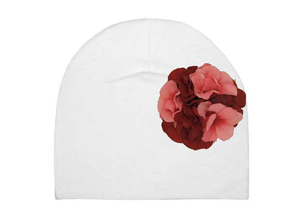 White Cotton Hat with Red Pink Large Geraniums