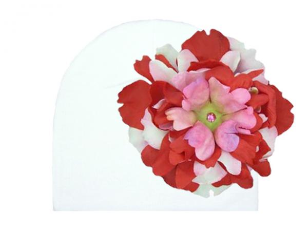 White Cotton Hat with Red Pink Large Peony