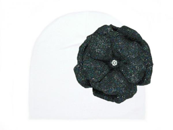 White Cotton Hat with Sequins Black Rose