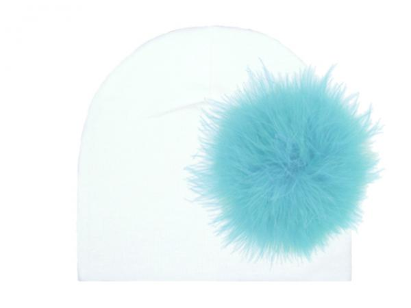 White Cotton Hat with Teal Large regular Marabou