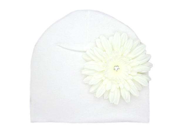 White Cotton Hat with White Daisy