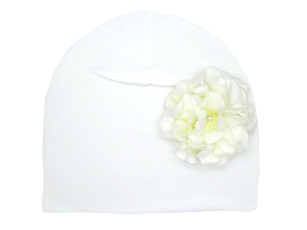 White Cotton Hat with White Large Geraniums
