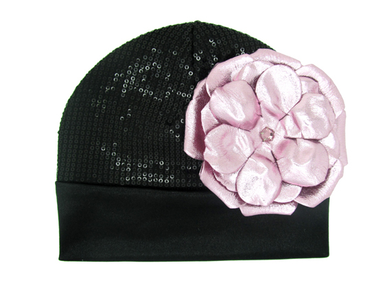 Black Couture with Metallic Pale Pink Rose