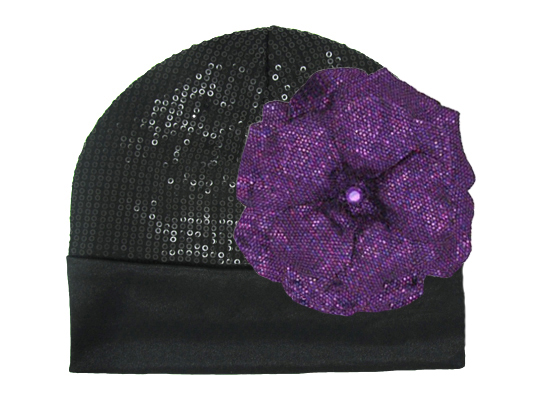 Black Couture with Sequins Purple Rose