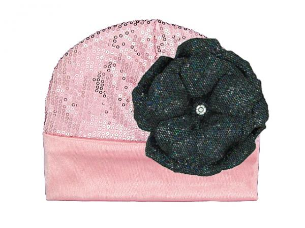 Candy Pink Couture with Sequins Black Rose