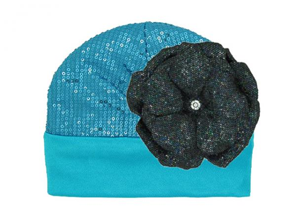 Teal Couture with Sequins Black Rose