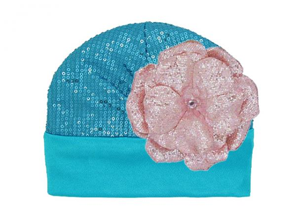 Teal Couture with Sequins Pale Pink Rose