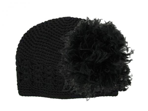 Black Crochet Hat with Black Large Curly Marabou