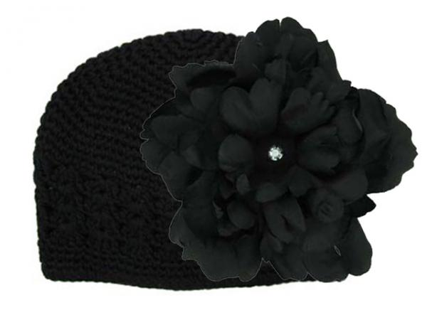 Black Crochet Hat with Black Large Peony