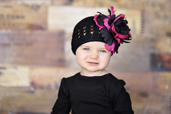 Black Crochet Hat with Black Raspberry Large Peony