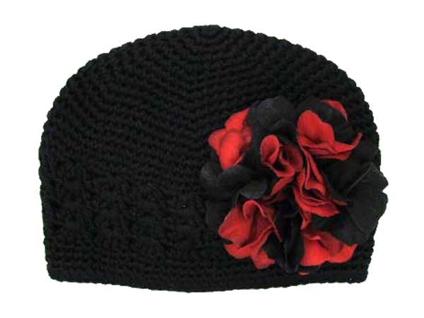 Black Crochet Hat with Black Red Large Geraniums